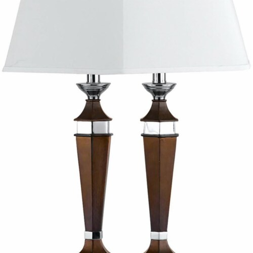 Saltoro Sherpi Wooden Pedestal Body Desk Lamp with 2 Rocker Switches, Brown and White Perspective: top