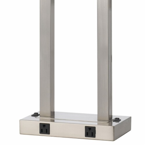 60W x 2 Desk Lamp with Rectangular Shade and Power Strip in Silver and White Perspective: top