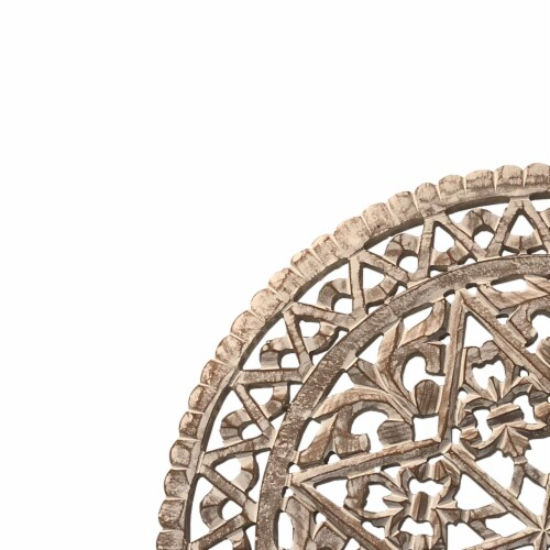 30 Inch Round Wooden Carved Wall Art with Intricate Cutouts, Distressed White ,Saltoro Sherpi Perspective: top