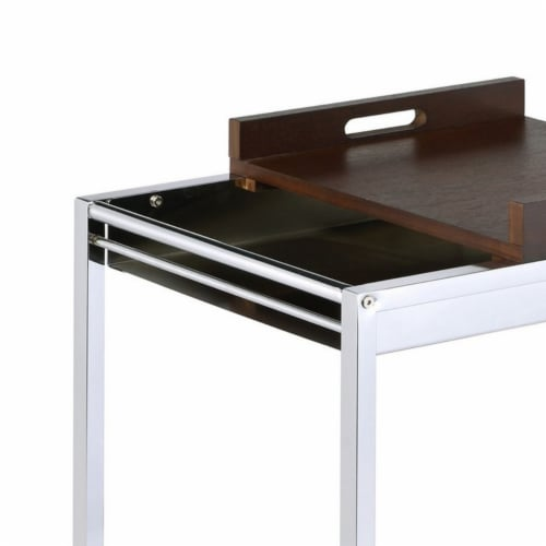Saltoro Sherpi Metal and Wood Serving Cart with Tray and Floating Shelf, Brown and Silver Perspective: top