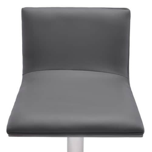Saltoro Sherpi Leatherette Padded Barstool with Adjustable Metal Tubular Support, Gray Perspective: top