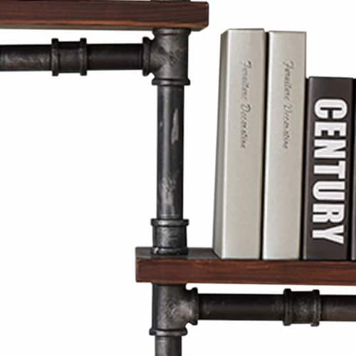 Saltoro Sherpi Metal Body Floating Three Wall Shelves with Pipe Design, Gray and Brown Perspective: top