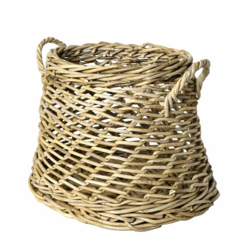 Saltoro Sherpi Rattan Open Woven Basket with Curved Handles, Set of 2, Brown Perspective: top