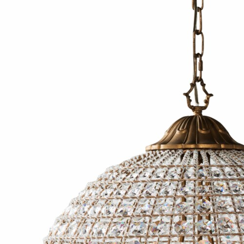 Saltoro Sherpi Metal Encased Crystal Chandelier with Engraved Details, Large, Clear and Gold Perspective: top