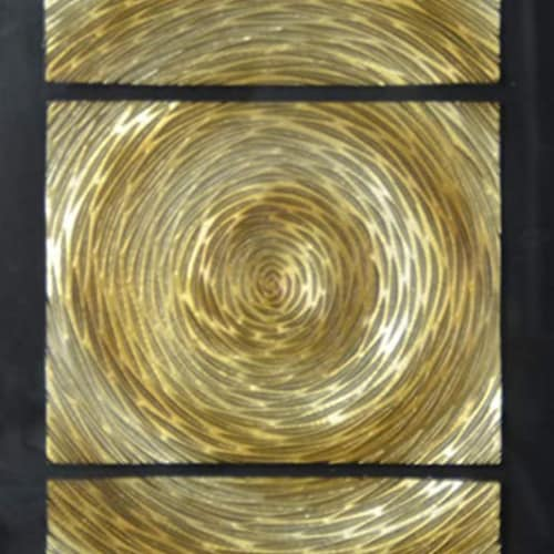 Saltoro Sherpi Glass Enclosed Shadow Box with 3 Dimensional Artwork, Black and Gold Perspective: top