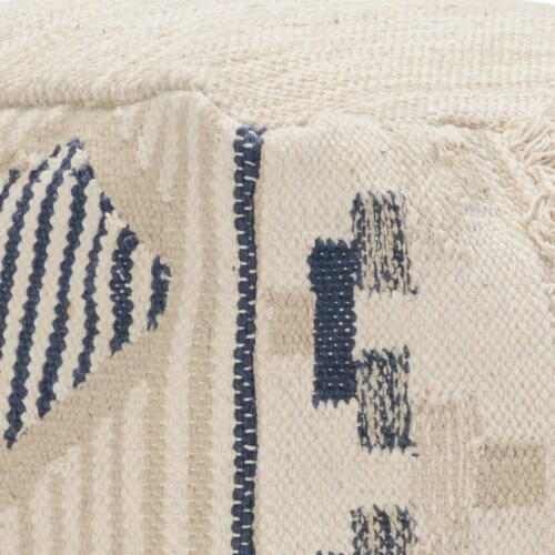Saltoro Sherpi Fabric Pouf Ottoman with Woven Design and Fringe Details, Cream and Blue Perspective: top