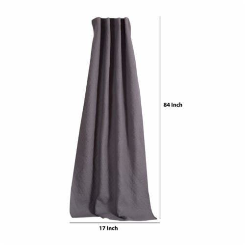 Saltoro Sherpi Bow Polyester Panel Pair with 1 Inch Header and Diamond Stitched Details, Gray Perspective: top