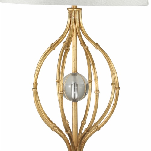 Saltoro Sherpi Metal Table Lamp with Curved Open Base and Crystal Orb, Gold Perspective: top