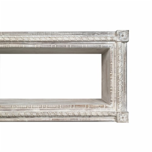 Rectangular Mango Wood Wall Mounted Shelf with Carved Details, Antique White ,Saltoro Sherpi Perspective: top