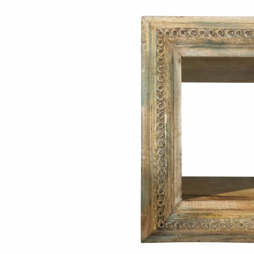 Molded and Carved Textured Mango Wood Wall Mounted Shelf, Distressed Brown ,Saltoro Sherpi Perspective: top