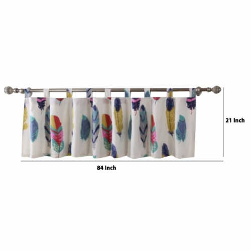 Saltoro Sherpi Boston Fabric Window Valance with Feather Prints, Multicolor Perspective: top