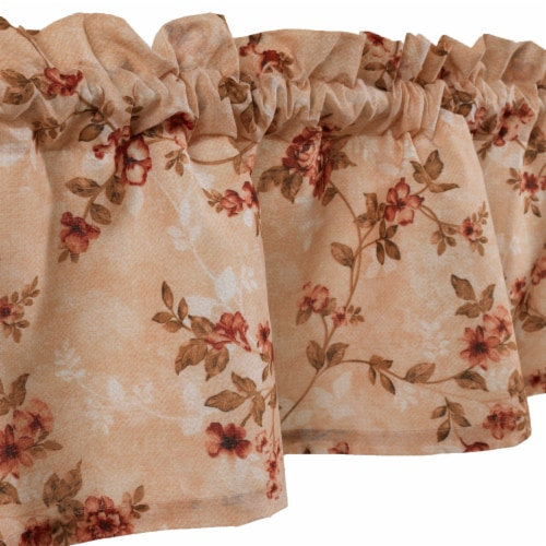 Saltoro Sherpi Munich Flower and Petal Fabric Window Valance with Loops, Beige Perspective: top