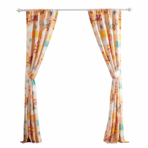 Saltoro Sherpi Dublin 4 Piece Rainbow and Cloud Print Fabric Curtain Panel with Ties, Beige Perspective: top