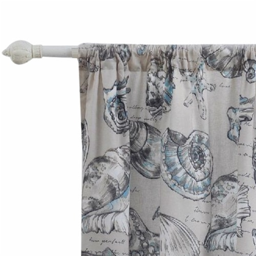 Saltoro Sherpi Madrid 4 Piece Beach Print Fabric Curtain Panel with Ties, White and Gray Perspective: top