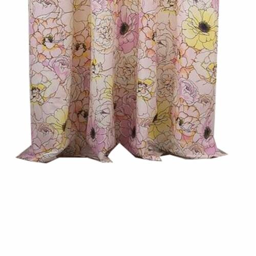 Saltoro Sherpi Sava Fabric 4 Piece Panel Pair with Floral Pattern, Pink Perspective: top
