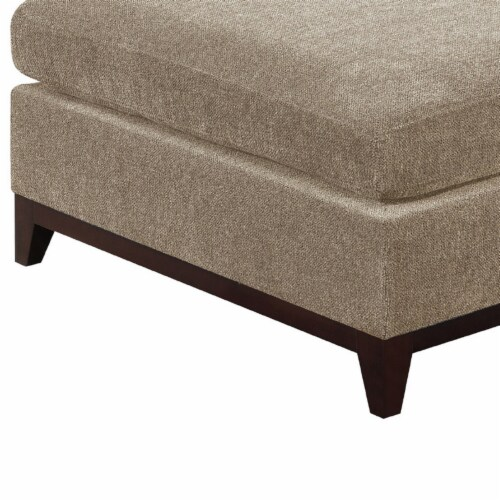 Saltoro Sherpi Fabric Cocktail Ottoman with Chamfered Feet, Gray Perspective: top