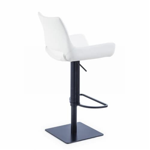Saltoro Sherpi Swivel Faux Leather Bar Stool with Countered Seat, White and Black Perspective: top