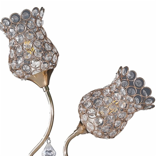 Saltoro Sherpi Metal Table Lamp with Floral Trumpet Shade and Crystal Accents, Gold Perspective: top
