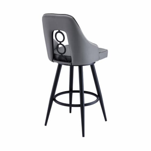 Saltoro Sherpi Faux Leather Barstool with Metal Tapered Legs, Gray and Black Perspective: top