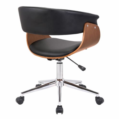 Saltoro Sherpi Curved Faux Leather Office Chair with Wooden Support and Star base, Black Perspective: top
