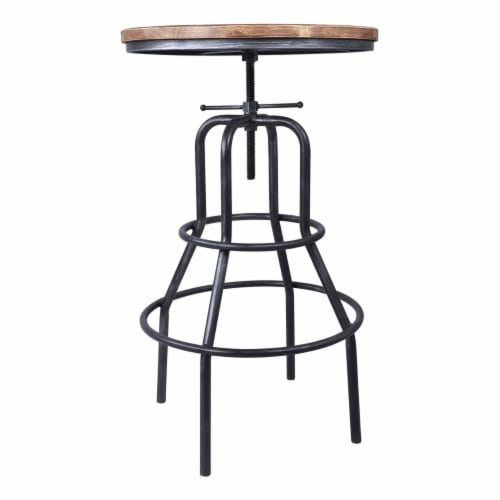 Saltoro Sherpi Metal Adjustable Height Pub Table with Round Seat, Brown Perspective: top