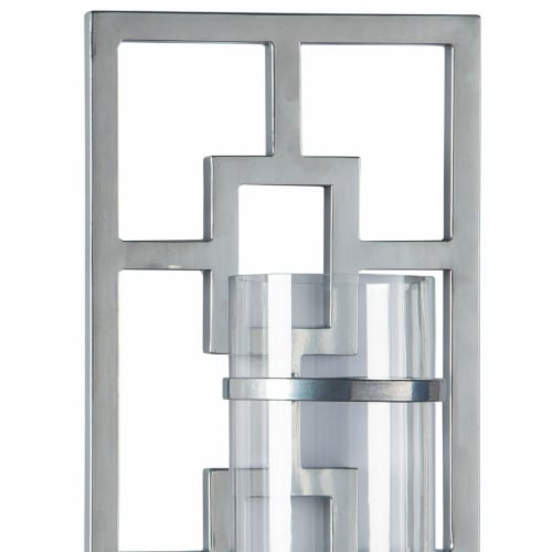 Saltoro Sherpi 22 Inches Geometric Metal Wall Scone with Glass Hurricane, Silver Perspective: top