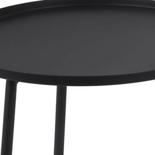 2 Tier Metal Accent Table with Tubular Frame and Tray Top, Black Perspective: top