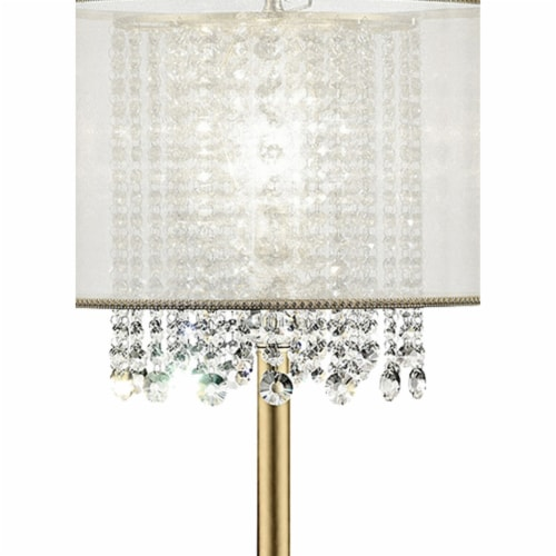 Saltoro Sherpi Table Lamp with Hanging Crystal Accents, White and Gold Perspective: top