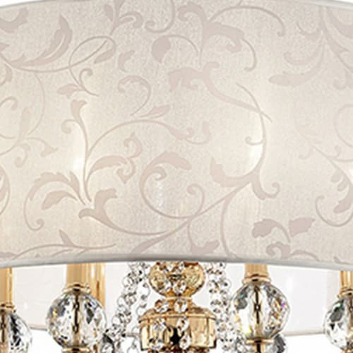 Ceiling Lamp with Crystal Accent and Baroque Style Shade, Gold Perspective: top
