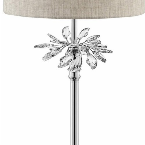 Floor Lamp with Starburst Crystal Accent, Gray and Silver Perspective: top