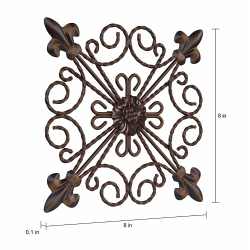 Medallion Metal Wall Art  8 Inch Square Metal Home Decor, Hand Crafted with Distressed Finish Perspective: top