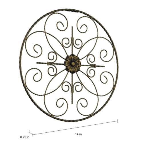 Medallion Metal Wall Art- 14 Inch Round Metal  Hand Crafted with Distressed Finish Perspective: top