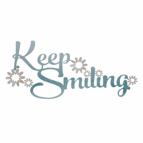 Metal Cutout- Keep Smiling Decorative Wall Sign-3D Word Art Home Accent Decor Perspective: top