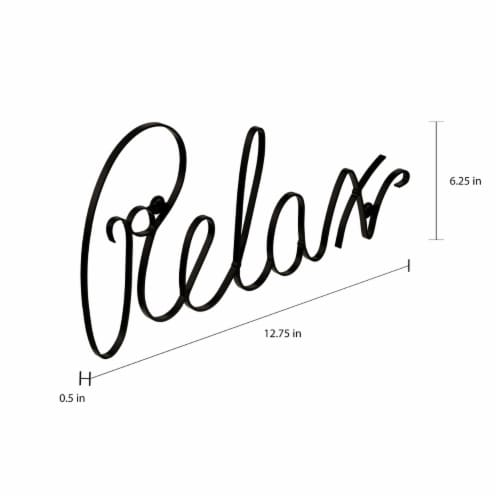Metal Cutout- Relax Decorative Wall Sign-3D Word Art Home Accent Decor Flat Wall Hanging Perspective: top