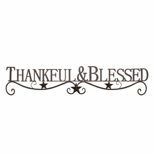 Metal Cutout-Thankful And Blessed Decorative Wall Sign-3D Word Art Home Accent Decor-Modern Perspective: top