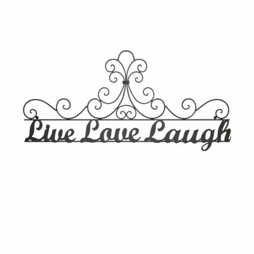 Metal Cutout-Live Laugh Love Decorative Wall Sign-3D Word Art Home Accent Decor-Modern Rustic Perspective: top