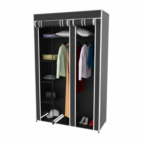 Wardrobe Closet Organizer with Dust Cover  Free Standing Vertical Armoire with Dustproof, Perspective: top