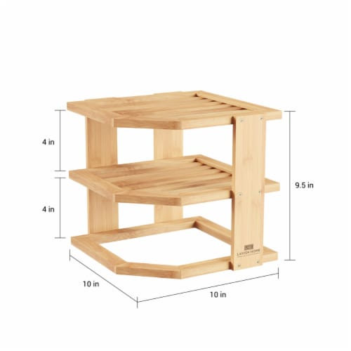 3-Tier Bamboo Corner Shelf for Kitchen or Bathroom Cabinet, Countertop, Cupboard Storage and Perspective: top