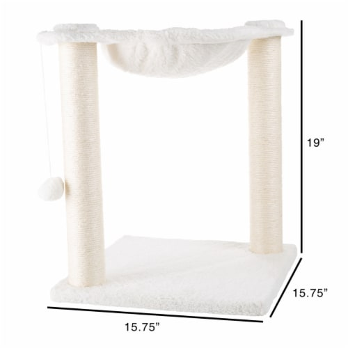 Cat Tree and Scratcher- Two Sisal Scratching Posts, Hammock Style Lounging Bed and Perspective: top