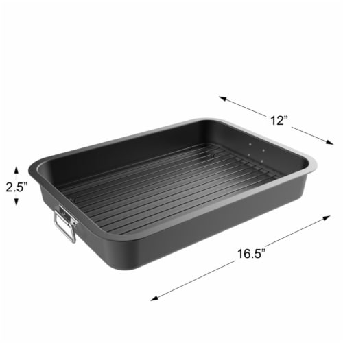 Roasting Pan with Flat Rack-Nonstick Oven Roaster and Removable Tray-Drain Fat and Grease for Perspective: top
