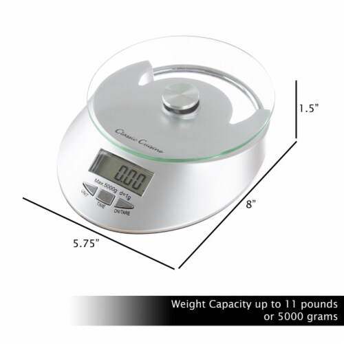 Kitchen Scale-Digital Electronic Food Weighing Appliance, 11LB. or 5000g Capacity-Measure Perspective: top