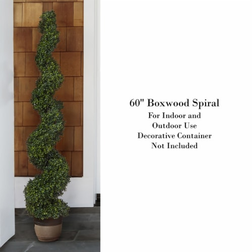 Faux Boxwood Realistic and Lifelike Plastic 5 Foot Spiral Topiary Arrangement and Weighted Perspective: top