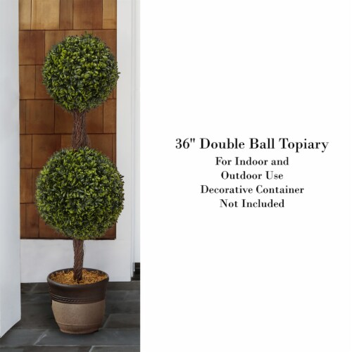 Artificial Podocarpus-36 Inch Double Ball Style Faux Plant in Sturdy Pot-Realistic Indoor or Perspective: top