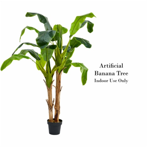 Artificial Banana Leaf Tree 72 Inch Double Trunk Style Faux Plant in Sturdy Pot- Realistic Perspective: top
