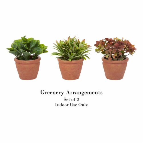 Artificial 6  Tall Greenery Arrangement House Plants in Pots- Round Set of 3, Decorative Faux Perspective: top