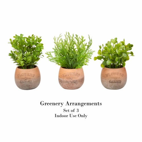 Artificial 8  Tall Greenery Arrangement House Plants in Pots- Round Set of 3, Decorative Faux Perspective: top