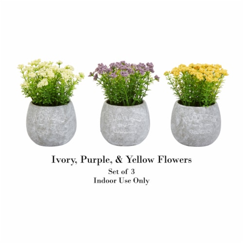 Faux Flowers-3-Piece Assorted Natural Lifelike Floral 6.25  Tall Arrangements and Imitation Perspective: top