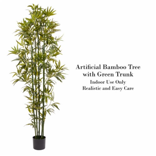 6 Ft. Artificial Bamboo  Tall Faux Potted Indoor Floor Plant for Home  Large and Lifelike by Perspective: top