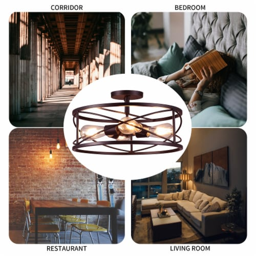 4-Light 17in Caged Drum Semi Flush Mount Light Perspective: top