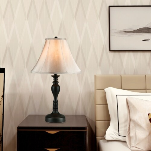 Cedar Hill 20-In Dark Bronze Table Lamp with Fabric Shade Perspective: top